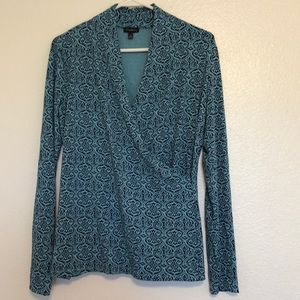 Stunning Talbots Blue Blouse with Wrap Front!